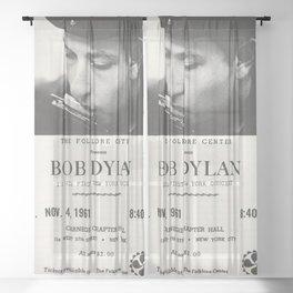 Vintage 1961 Bob Dylan Carnegie Hall Folk Festival Concert Gig Poster Sheer Curtain