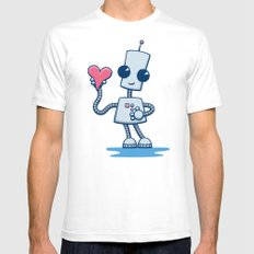 Ned's Heart White SMALL Mens Fitted Tee
