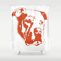 pitbull Shower Curtains featuring COACH - ORANGE by Kirk Scott