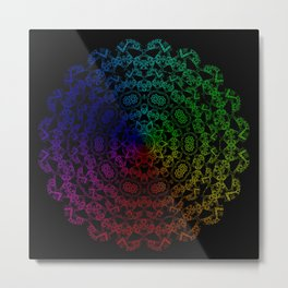 Whispering Spirit Multi-Coloured Mandala Design On Black Metal Print