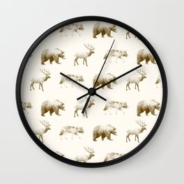 Wild Pattern // Brown Wall Clock