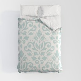 Scroll Damask Lg Pattern Duck Egg Blue on White Comforters