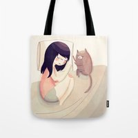 kitty Tote Bags featuring Best Friends by Nan Lawson