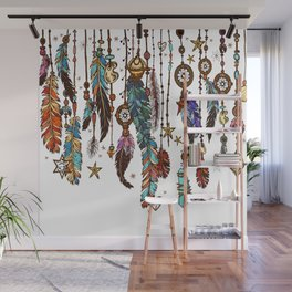 Feathers and crystals in aztec style Wall Mural