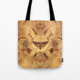 Death-head Hawkmoth Sacred Geometry Digital Art Tote Bag