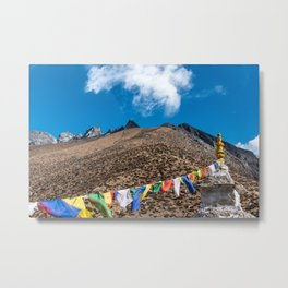 Prayer flags hang on a Buddhist structure in the Nepalese mountain side Metal Print