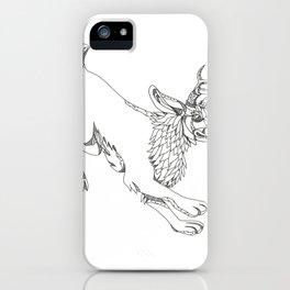 Jackalope Hopping Doodle Art iPhone Case