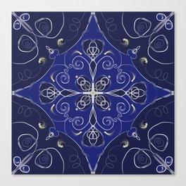 Blue tile pattern Canvas Print