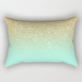 Modern gold ombre mint green block Rectangular Pillow