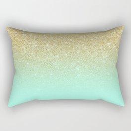 Modern gold ombre mint green block Rectangular Pillow