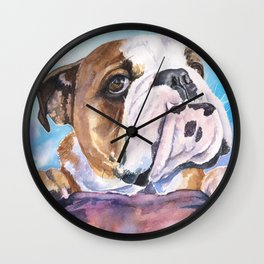 English Bulldog Watercolor | Pillow Cover | Dogs | Home Decor | Custom Dog Pillow | Dog Mom |Bulldog Wall Clock