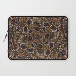 Funghi & Fern Forest, Fall Colors , Foraging for Woodland Mushrooms Brown, Orange Purple Laptop Sleeve