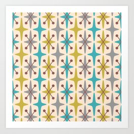 Mid Century Modern Abstract Star Pattern 441 Gray Brown Turquoise Olive Green Art Print