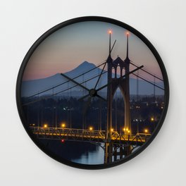 Mornings at St. Johns Bridge Wall Clock
