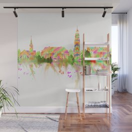 Colorful Harvard University Skyline Wall Mural