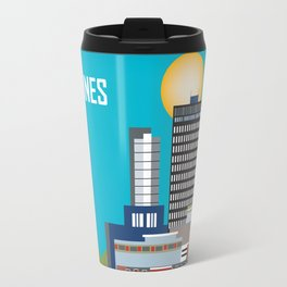Des Moines, Iowa - Skyline Illustration by Loose Petals Travel Mug