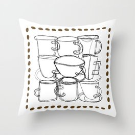 Coffee Beans and Mugs Throw Pillow