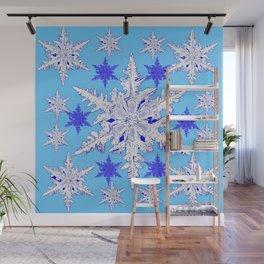 BABY BLUE SNOW CRYSTALS BLUE WINTER ART DESIGN Wall Mural