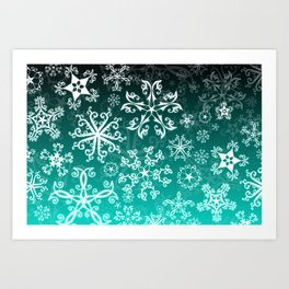 Symbols in Snowflakes on Winter Green Art Print