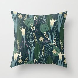 Wonderful Mid-Century Style Evening Lily And Wildflower Pattern Throw Pillow