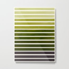 Watercolor Gouache Mid Century Modern Minimalist Colorful Olive Green Stripes Metal Print