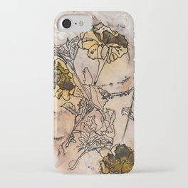 inked yellow flower & leaf print iPhone Case