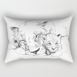 Lioness and Cub Rectangular Pillow