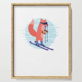Skier Ice Skating Skater Winter Sports Adventure Fox Skiing Gift Serving Tray