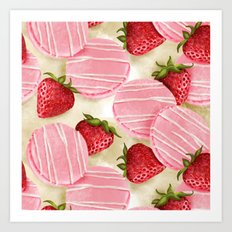 Strawberries macarons pattern Art Print