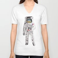 astronaut V-neck T-shirts featuring Astronaut by James White