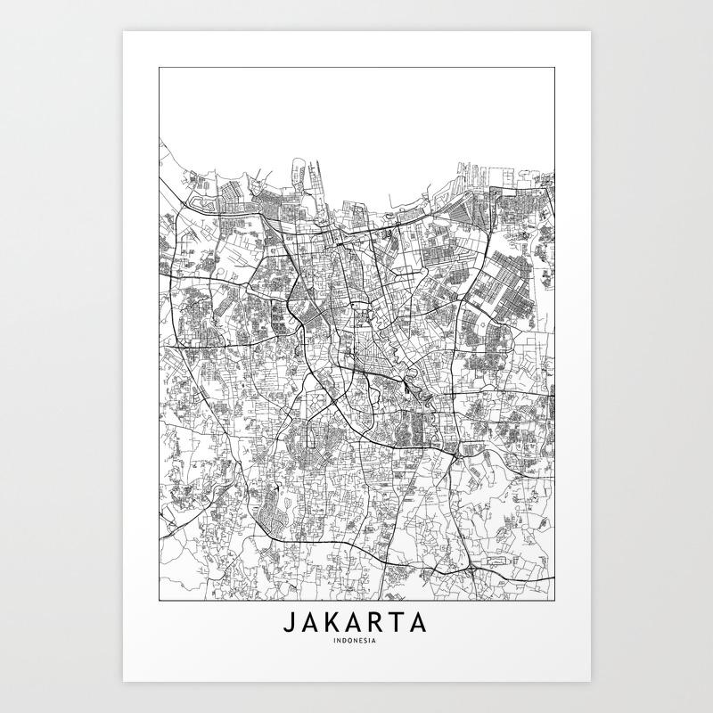 Jakarta White Map Art Print By Multiplicity Society6