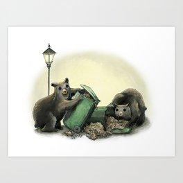 Critters Eating Garbage # 1 Art Print