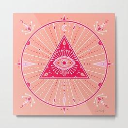 Evil Eye Mandala – Pink Metal Print