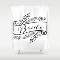 bride Shower Curtains featuring Bride by Alexis Wright