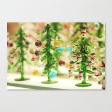 Snowmen Christmas trees Canvas Print
