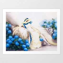 Louis Icart - Hunting - Pink Lady - Digital Remastered Edition Art Print