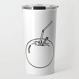 an Apple and a straw ( https://society6.com/totalflora/collection ) Travel Mug