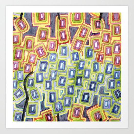 Pattern with few Restraining Black Lines Art Print