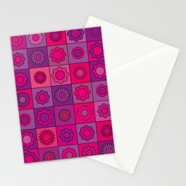 Pink and Purple Hippie Flower Pattern Stationery Cards
