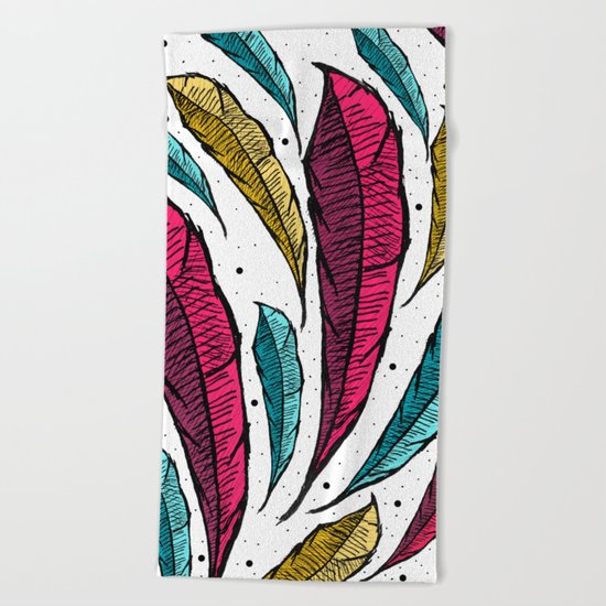 Feather Leaves Beach Towel