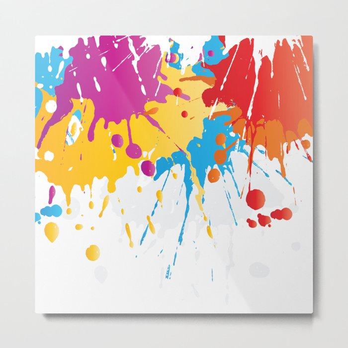 Colourful Paint Splash Metal Print