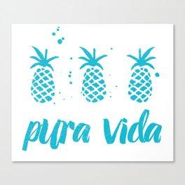Pura Vida Pineapples in Blue Canvas Print