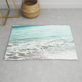 Travel photography wave I aqua ocean wave Rug