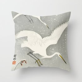 Egrets Descending from the sky - Vintage Japanese Woodblock Print Art Throw Pillow