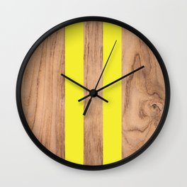 Wood Grain Stripes Yellow #255 Wall Clock