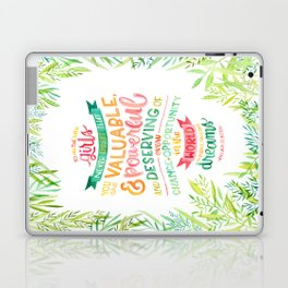You Are Valuable & Powerful & Deserving // Hillary Clinton Quote Laptop & iPad Skin