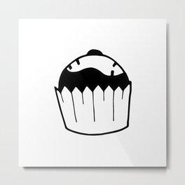 Black and white cupcake Metal Print