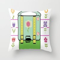 backpack Throw Pillows featuring Backpack - Flower Power by Drape Studio