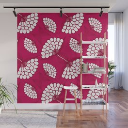 African Floral Motif on Magenta Wall Mural