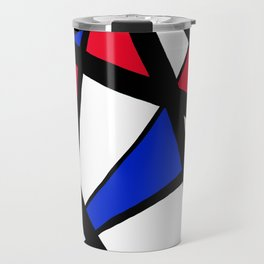 Geometric Red, White, and Blue Stars Abstract Travel Mug